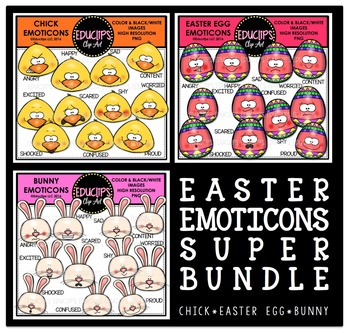Easter Emoticons Clip Art Super Bundle  {Educlips Clipart}