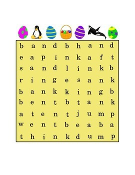 Easter Ending Consonant Blends Search Word Puzzle AND ANK ENT ING INK UMP Print