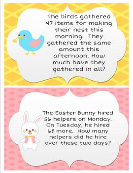 Easter Equations: 2 & 3 digit addition & subtraction word problem activities