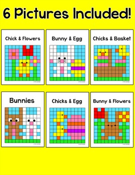 Easter Math Equivalent Fractions Mystery Pictures Bundle