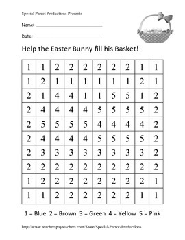 Easter FREE - Easter Basket - Color By Numbers!