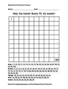 Easter - Basket - Hundreds Chart!