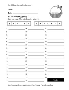Easter FREE - Easter Baskets - How Many Words Can You Make?