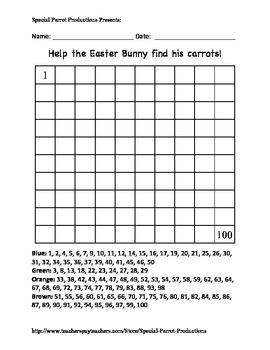 Easter - Carrot - Hundreds Chart!