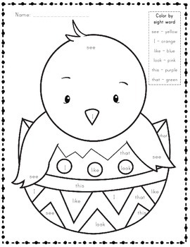 Easter FREEBIE Color by Sight Word
