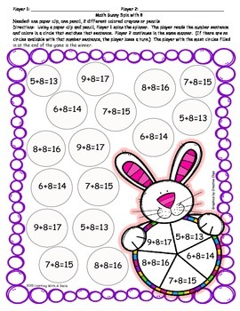 Easter FREEBIE ~ Partner Math Game ~ Addition with 6,7, and 8