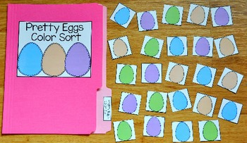 Easter File Folder Game:  Pretty Eggs Color Sort