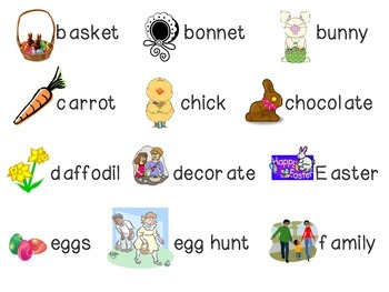 Easter File Folder Word Wall