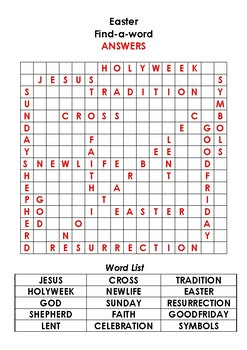 Easter Find-a-word (Religious)