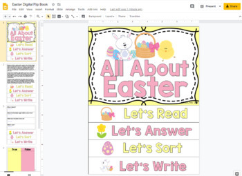 Easter Flip Book; Easter Activities for Reading