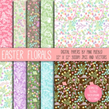 Easter Flower Digital Scrapbook Papers and Patterns - Commercial and Personal
