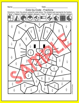 Easter Math Color by Fractions Bundle - Easter Bunny, Easter Eggs & Chicks