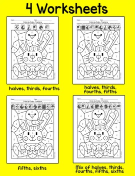 Easter Math Fractions Color by Code Activity - Easter Bunny and Chick Picture