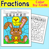 Easter Math Fractions Color by Code Activity - Easter Bunn