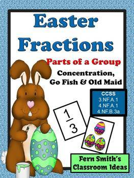 Easter Fractions Concentration, Go Fish and Old Maid Centers for Part of a Group