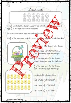 Easter Fractions Math (Find Fractions of Amounts Word Problems)
