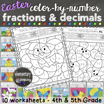 Easter Fractions and Decimals Color by Number Activity Sheets
