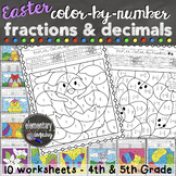 Easter Math Activity Fractions and Decimals Color by Number Worksheets