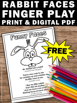 FREE Spring Easter Finger Play, Coloring Page, Easter Finger Play Activity
