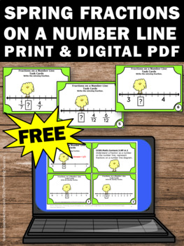 FREE Easter Math Fractions on a Number Line Task Cards Games & Activities