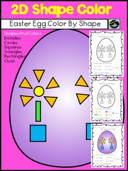 Easter Freebie Color By 2D Shape Easter Egg