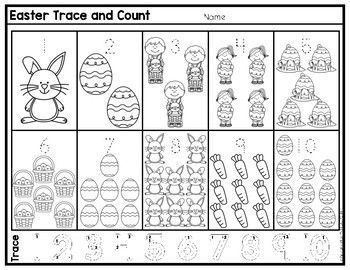 Easter Freebie Trace and Count Numbers 1 to 10
