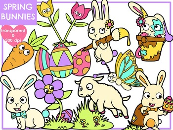 Spring Bunnies (Digital Clip Art)
