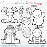 Easter Friends Cute Digital B&W Stamps, Easter Bunny Line Art, Blackline