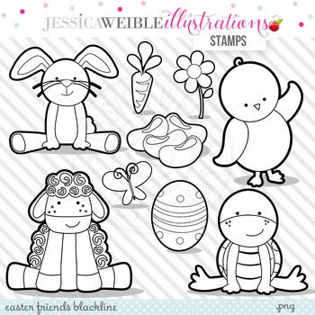 Easter Friends Cute Digital B&W Stamps, Easter Bunny Line Art, Blackline