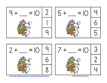 Easter Friends of 10 Addition Clip Cards