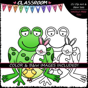 Easter Frogs - Clip Art & B&W Set