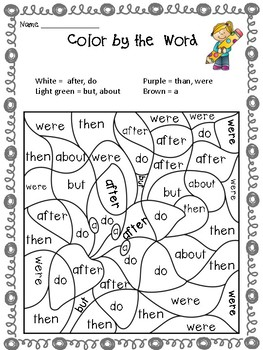Spring - Easter Fun Activity - Color by the Sight Word