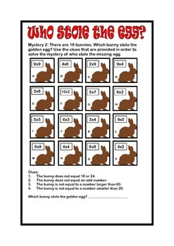 Easter Fun Math Activities: Who stole the egg? 3rd 4th