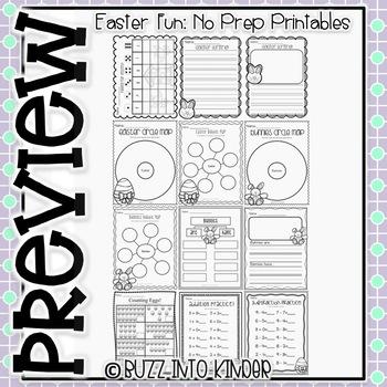 Easter Fun-- NO PREP Math and Literacy Printables