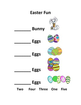 Easter Fun - Numbers and Colors as a Handout or In Word
