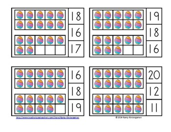 Easter Fun Ten Frames Math Centers (Quantities of 0 to 20)