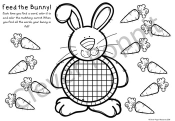Easter Fun with Sight Words - 'Feed the Bunny!' Word Finds