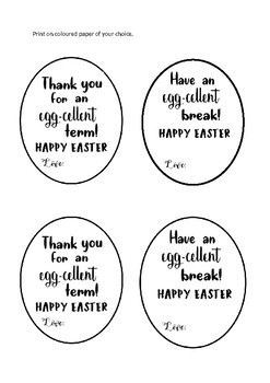 Easter Gift Message Tags (B&W)