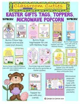 Easter Gifts - Tags, Toppers and Popcorn Set