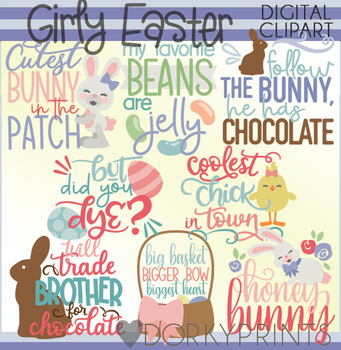 Easter Girl Title Words Clipart