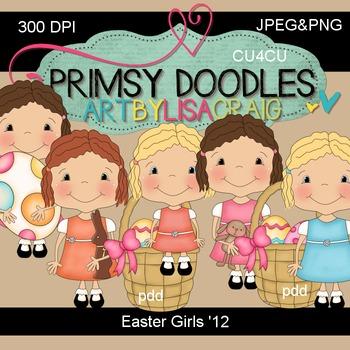 Easter Girls 300 dpi clipart