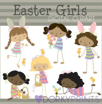 Easter Girls Digital Clip Art