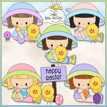 Easter Girls With Chicks Clip Art - Easter Clip Art - CU Clip Art & B&W
