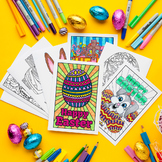 Easter Greeting Card DIY Templates – Set of 10 printable PDF coloring templates