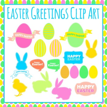 Easter Greetings Clip Art Pack for Commercial Use