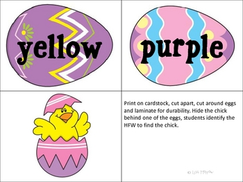 Easter- HFW Find the Chick Sight Word Game