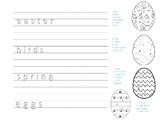 Easter Handwriting and Coloring Worksheet