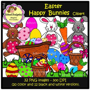 Easter - Happy Bunnies Clip Art (School Design)