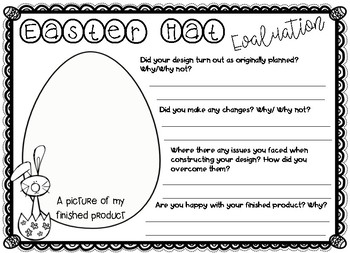 easter hat design planning template and reflection tpt