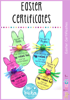 Easter Hat Parade Certificate